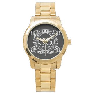 Reloj De Pulsera 35to escudo coralino del jade del aniversario de
