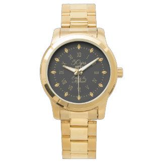 Reloj De Pulsera 50.o nombre elegante de la fecha del aniversario