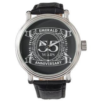 Reloj De Pulsera 55.o escudo de la esmeralda del aniversario de