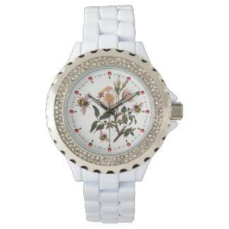 Reloj De Pulsera ABEJA de la MIEL, ROSAS SALVAJES, blanco rosado