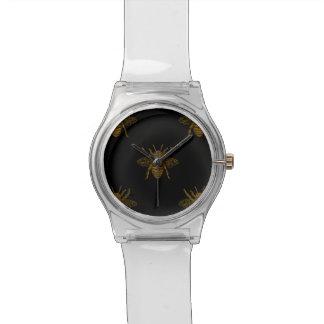 Reloj De Pulsera Abejas metálicas del efecto metalizado del oro en