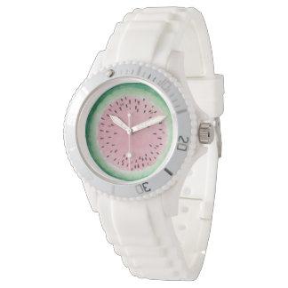 Reloj De Pulsera Acuarela pintada a mano rosada y verde de la