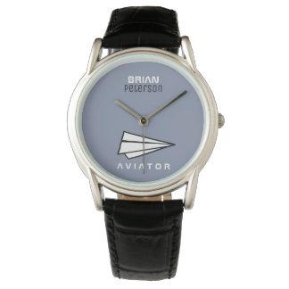 Reloj De Pulsera aeroplano de papel para los pilotos