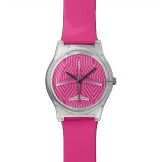 Reloj De Pulsera Aeroplano del art déco, fucsia y rosa en colores