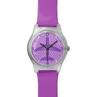 Reloj De Pulsera Aeroplano del art déco, púrpura violeta y lavanda