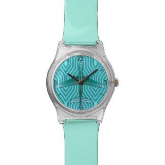 Reloj De Pulsera Aeroplano, turquesa, trullo y aguamarina del art