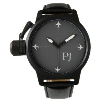 Reloj De Pulsera aeroplanos con las iniciales, negro elegante