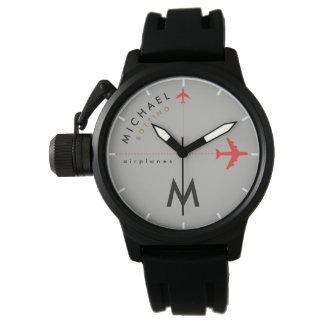 Reloj De Pulsera aeroplanos rojos con inicial y el nombre del