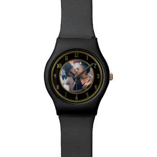 Reloj De Pulsera Añada su negro personalizado del oro de la foto el