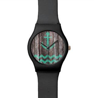 Reloj De Pulsera Ancla de la menta en la madera vieja