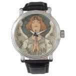 Reloj De Pulsera Ángel religioso del vintage que ruega con las