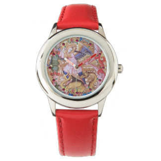 Reloj De Pulsera Arcángel de San Miguel y floral antiguo del dragón