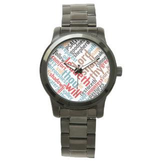Reloj De Pulsera Arte colorido de la palabra del SALMO 23