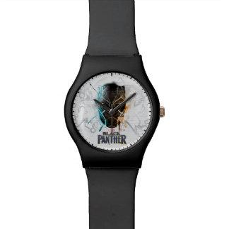 Reloj De Pulsera Arte dual negro de la calle de las panteras de la