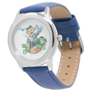 Reloj De Pulsera Azul de acero inoxidable del DIBUJO ANIMADO del