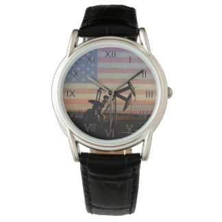 Reloj De Pulsera Bandera americana del campo petrolífero