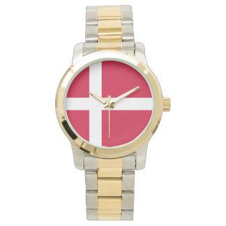 Reloj De Pulsera Bandera de Dinamarca o del paño danés