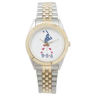 Reloj De Pulsera Bandera del americano del béisbol de América