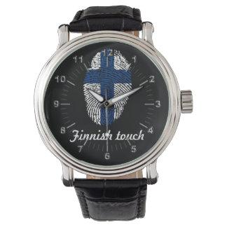 Reloj De Pulsera Bandera finlandesa de la huella dactilar del tacto