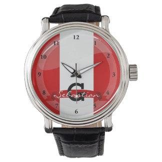 Reloj De Pulsera Bandera peruana redonda brillante