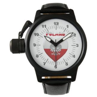 Reloj De Pulsera Bandera polaca del corazón