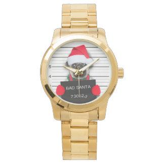 Reloj De Pulsera Barro amasado del navidad - perro del mugshot -