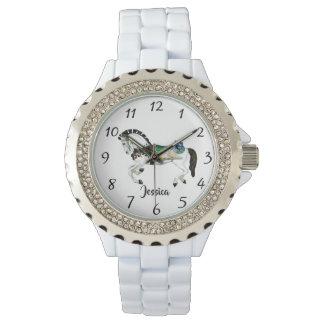 Reloj De Pulsera Caballo blanco bonito del carrusel