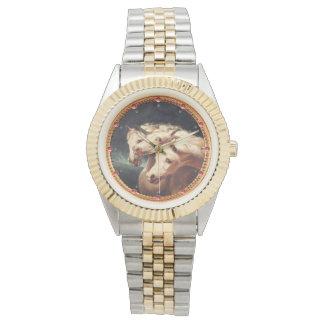 Reloj De Pulsera Caballos árabes blancos del carro del Pharaoh