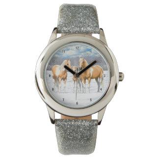 Reloj De Pulsera Caballos de la pintura del Palomino en nieve