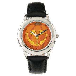 Reloj De Pulsera Cara torpe feliz de la calabaza de Halloween de la