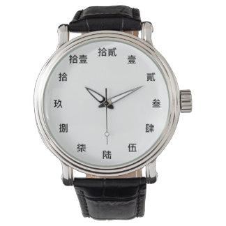 Reloj De Pulsera Carácter numérico chino (fuente negra)