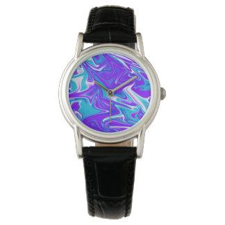 Reloj De Pulsera Cielo Marbleized sedoso azul,