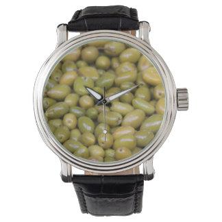Reloj De Pulsera Ciérrese para arriba de aceitunas verdes