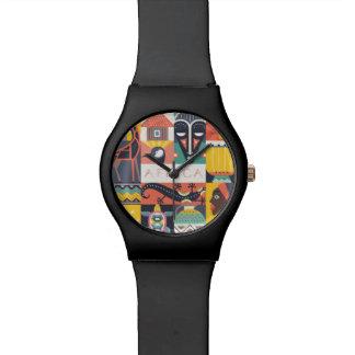 Reloj De Pulsera Collage simbólico africano del arte
