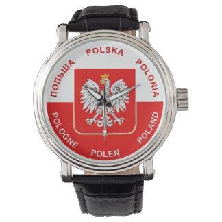 Reloj De Pulsera Colores polacos de la bandera con Eagle blanco