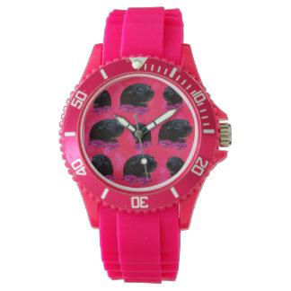 Reloj De Pulsera Conejillos de Indias negros en rosas rosados