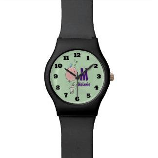 Reloj De Pulsera Conejito flotante que lleva a cabo un monograma