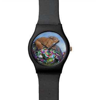 Reloj De Pulsera Conejo en su huevo colorido para Pascua - 3D