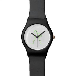 Reloj De Pulsera Contorno de una liebre verde clara