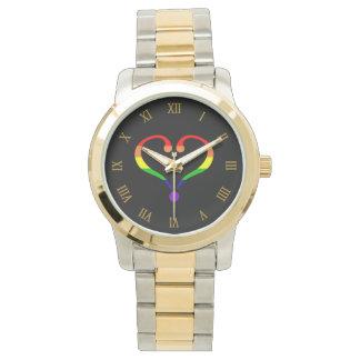 Reloj De Pulsera Corazón Arco Iris del orgullo día de San Valentín