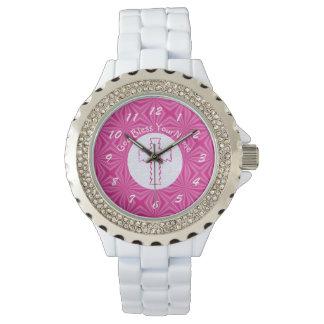 Reloj De Pulsera Cruz rosada del zigzag en el rosa blanco y
