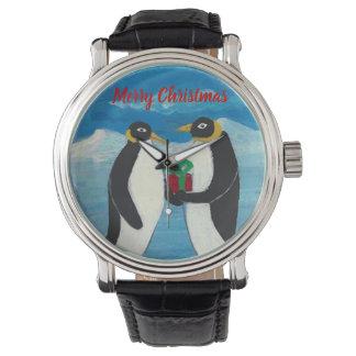 Reloj De Pulsera Cuero negro de encargo del vintage del navidad B