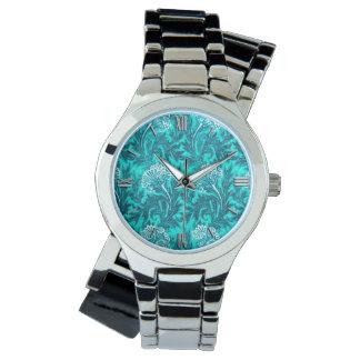 Reloj De Pulsera Damasco jacobeo de la flor, turquesa y azul verde