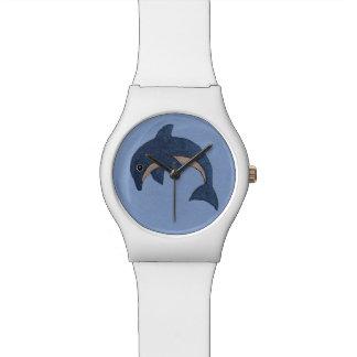 Reloj De Pulsera Delfín blanco azul marino de la diversión en la