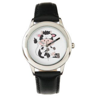 Reloj De Pulsera Dibujo animado lindo de la vaca del bebé