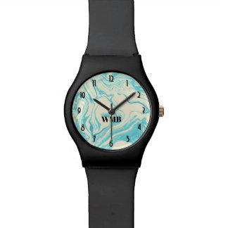 Reloj De Pulsera Diseño de mármol fresco en monograma de la