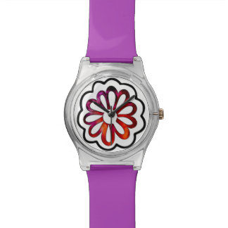 Reloj De Pulsera Doodle caprichoso del flower power