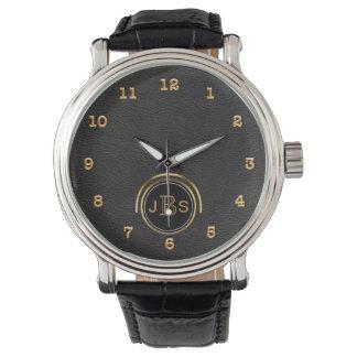 Reloj De Pulsera Ejecutivo masculino negro del monograma del cuero