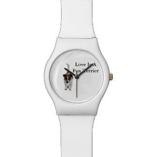 Reloj De Pulsera El amor es un fox terrier, señoras blancas puede