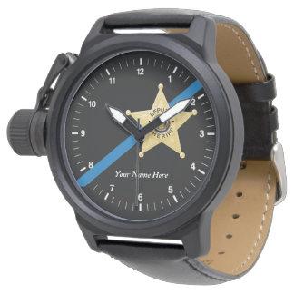 Reloj De Pulsera El ayudante del sheriff Blue Line fino mira